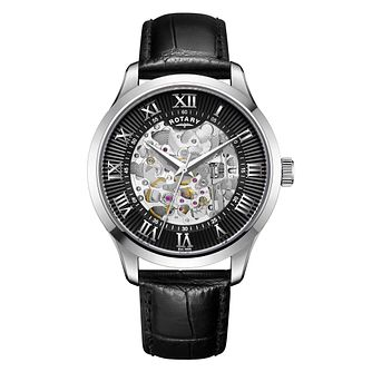 Rotary Skeleton Men's Black Strap Watch - Product number 1042610