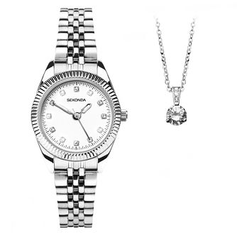 Sekonda Ladies' Bracelet Watch & Pendant Gift Set - Product number 1042726