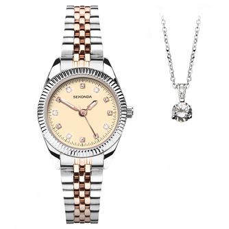 Sekonda Ladies' Two Tone Bracelet Watch & Pendant Gift Set - Product number 1042734
