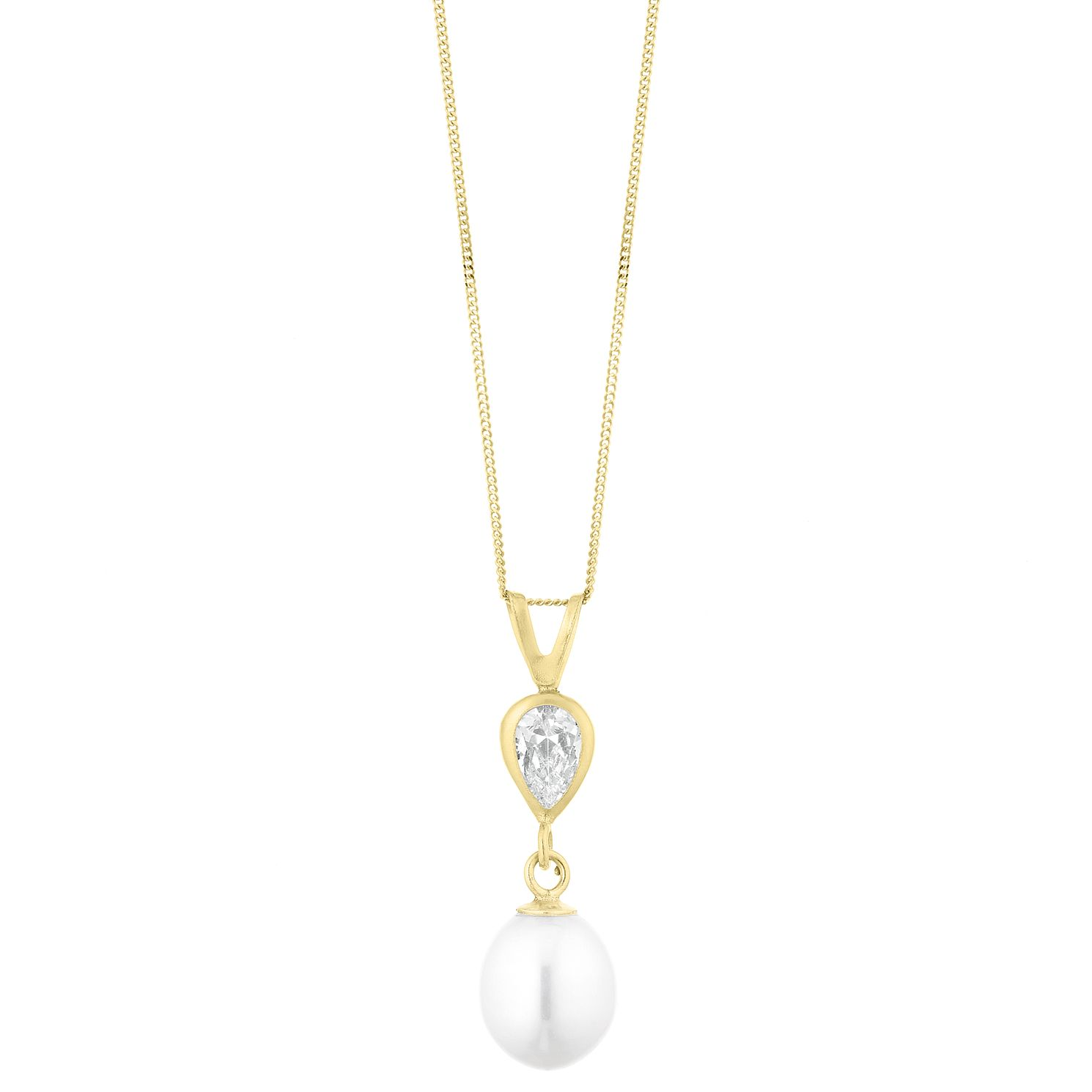 9ct Yellow Gold Pearl & Cubic Zirconia Teardrop Pendant - Product number 1042882