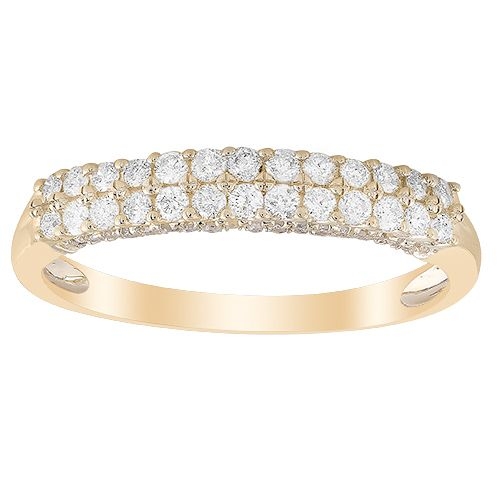 9ct Yellow Gold 0.33ct Diamond Double Row Eternity Ring - Product number 1045407