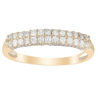 9ct Yellow Gold 1/3ct Diamond Double Row Eternity Ring - Product number 1045407