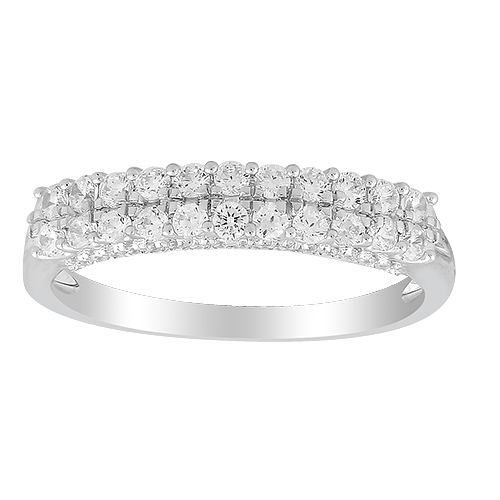 9ct White Gold 0.50ct Diamond Double Row Eternity Ring - Product number 1045539