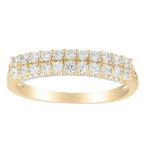 9ct Yellow Gold 1/2ct Diamond Double Row Eternity Ring - Product number 1048376