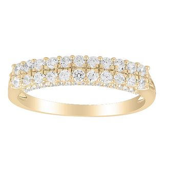 9ct Yellow Gold 0.50ct Diamond Double Row Eternity Ring - Product number 1048376