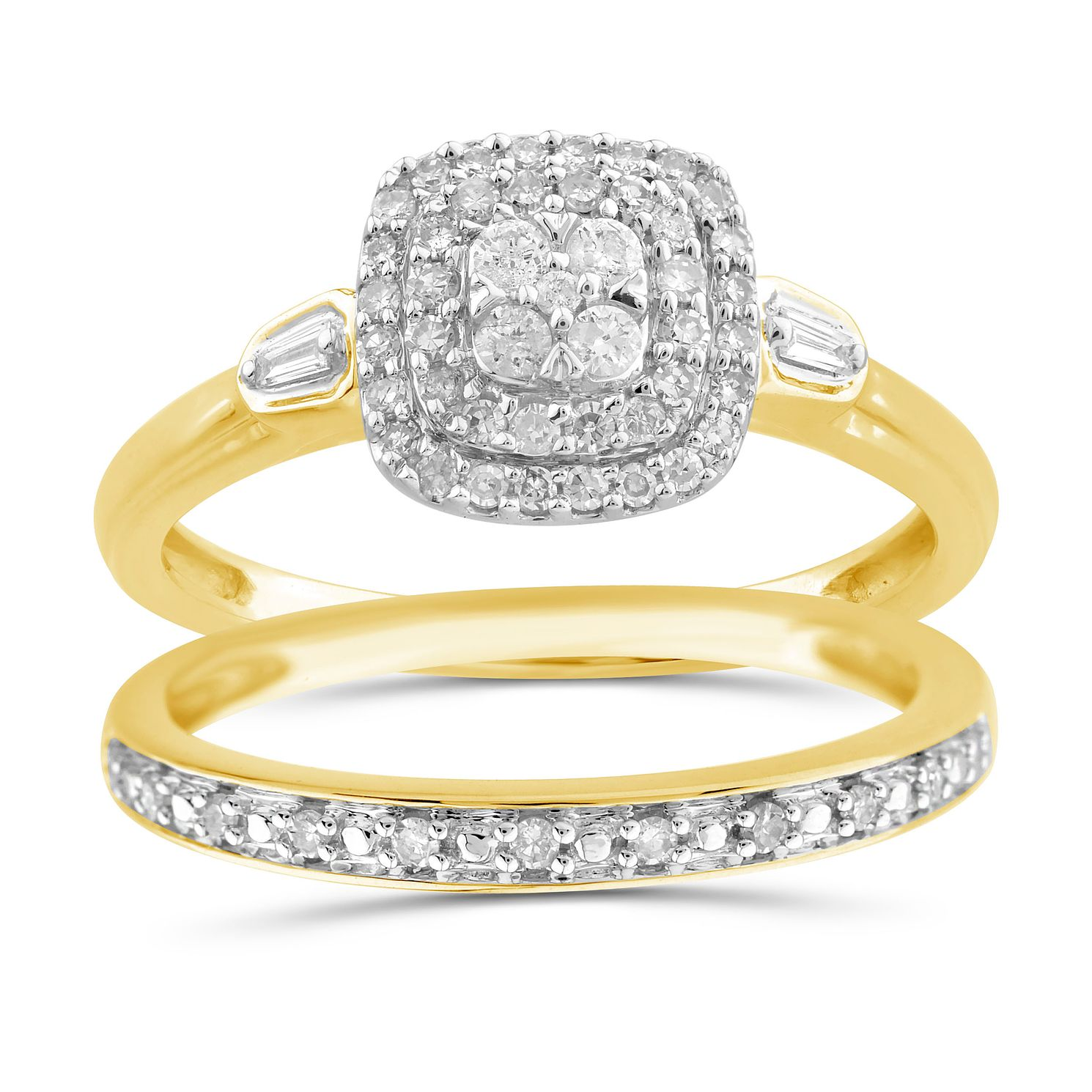 Perfect Fit 9ct Yellow Gold 0.33ct Total Diamond Bridal Set - Product number 1048503