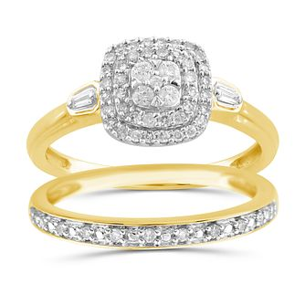 Perfect Fit 9ct Yellow Gold 1/3ct Diamond Cushion Bridal Set - Product number 1048503