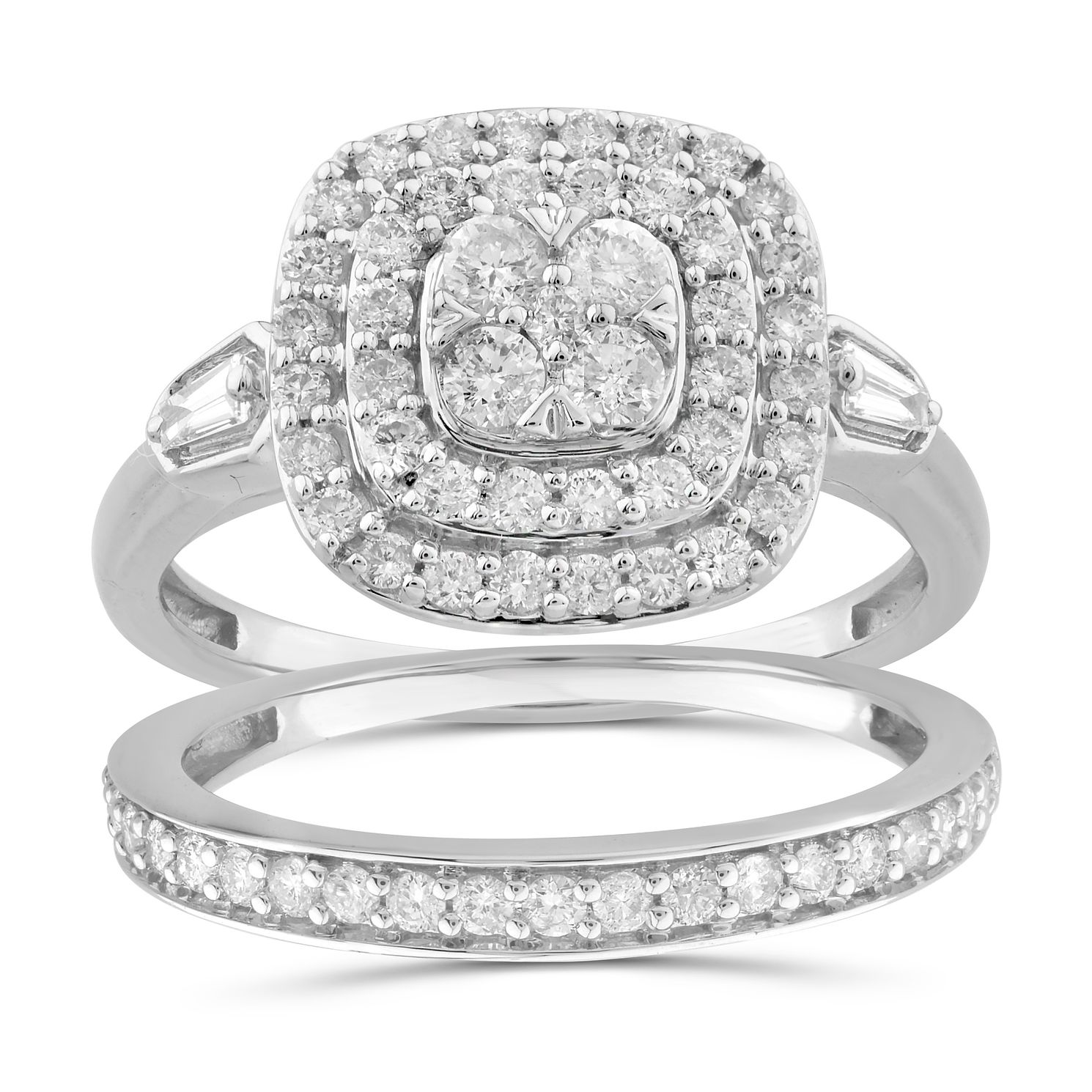 Perfect Fit 9ct White Gold 0.80ct Diamond Cushion Bridal Set - Product number 1048635