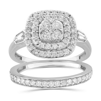 Perfect Fit 9ct White Gold 0.80ct Total Diamond Bridal Set - Product number 1048635