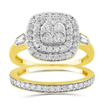 Perfect Fit 9ct Yellow Gold 0.80ct Total Diamond Bridal Set - Product number 1048899