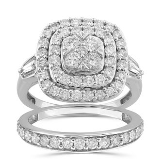 Perfect Fit 9ct White Gold 1.5ct Diamond Cushion Bridal Set - Product number 1057154