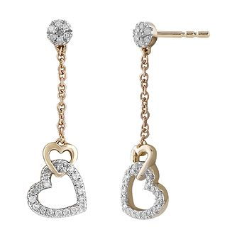9ct Yellow Gold 1/10ct Diamond Heart Drop Earrings - Product number 1057928