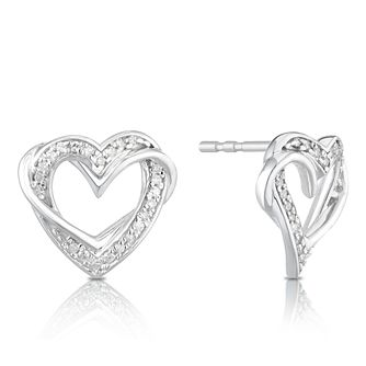Silver 1/10ct Diamond Heart Stud Earrings - Product number 1057944
