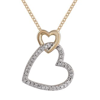 9ct Yellow Gold 0.10ct Diamond Double Heart Pendant - Product number 1057952