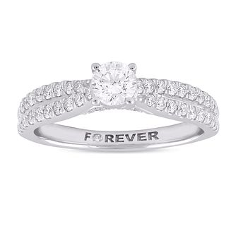 Platinum 3/4ct Forever Diamond Two Row Ring - Product number 1057960