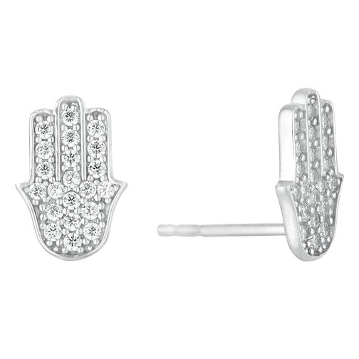 Silver Cubic Zirconia Hamsa Stud Earrings - Product number 1058134