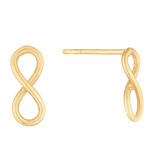 Silver Yellow Gold Plated Infinity Symbol Stud Earrings - Product number 1058177