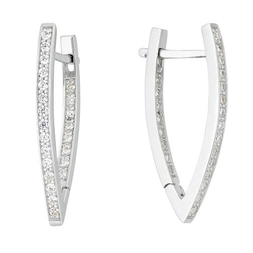 Silver Cubic Zirconia V Hoop Latch Earrings - Product number 1058215