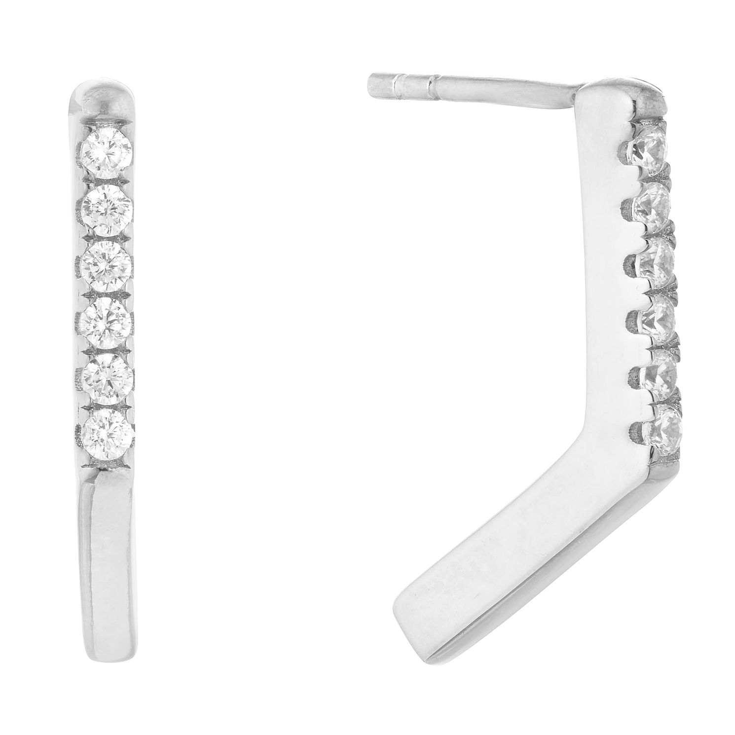 Silver Cubic Zirconia Chevron Stud Earrings - Product number 1058223