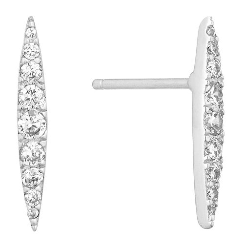 Silver Cubic Zirconia Double Point Stud Earrings - Product number 1058258
