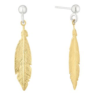 Silver Yellow Gold Feather Drop Earrings - Product number 1058274