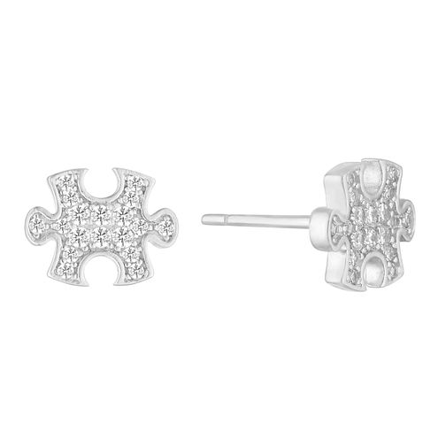 Silver Cubic Zirconia Puzzle Studs - Product number 1058304