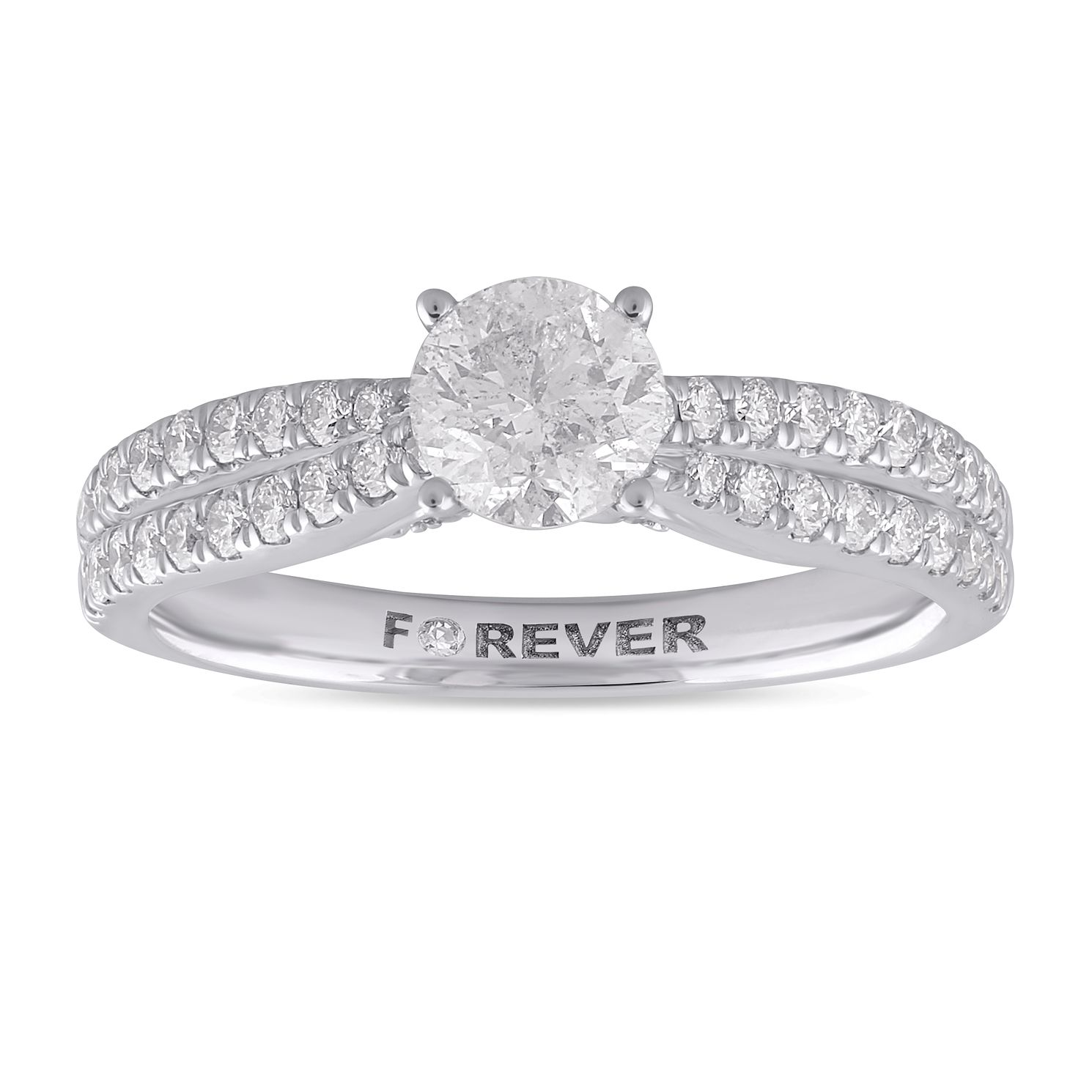 Platinum 1ct Forever Diamond Two Row Ring - Product number 1058428
