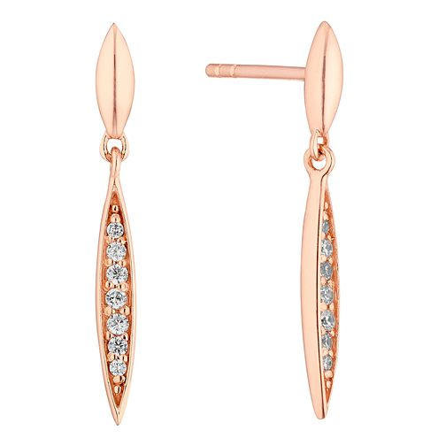 Silver Rose Gold Plated Cubic Zirconia Double Point Earrings - Product number 1058460