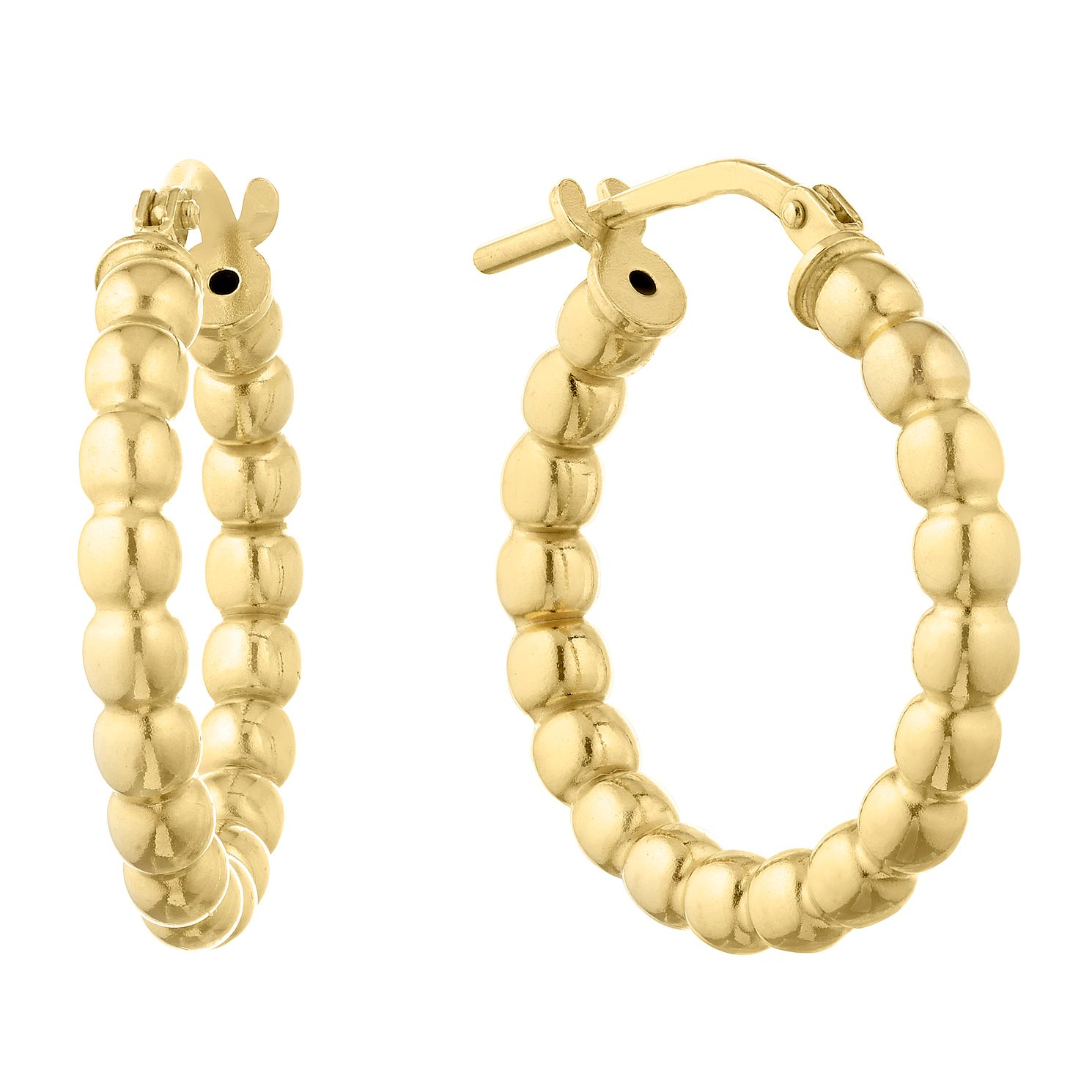Silver Yellow Gold Plated Ball Hoop Earrings - Product number 1058487