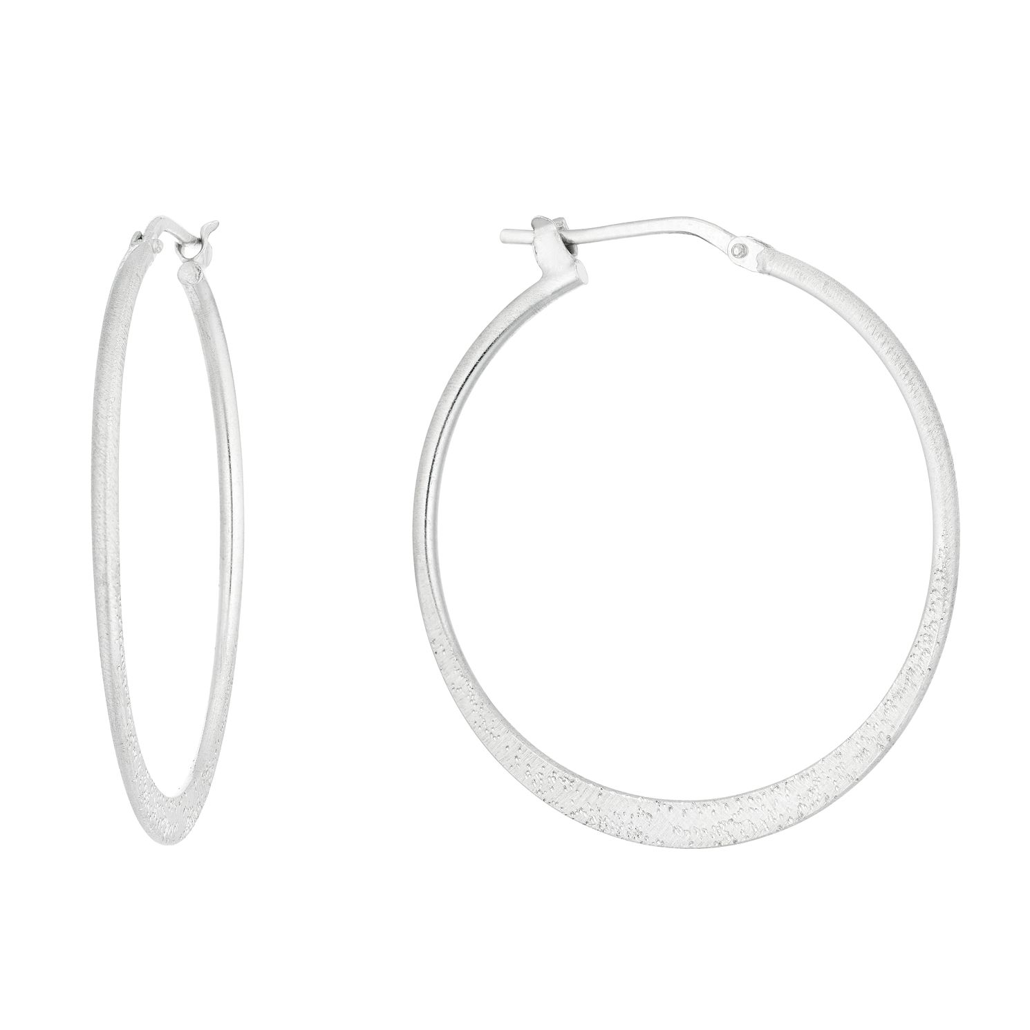 Sterling Silver Sparkle Finish 30mm Hoop Earrings - Product number 1058509