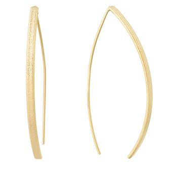 Silver Yellow Gold Plated Thread Through Curve Earrings - Product number 1058525