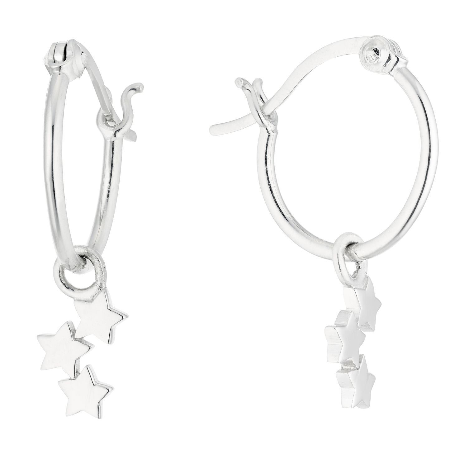 Silver Star Charm Hoop Earrings - Product number 1058584