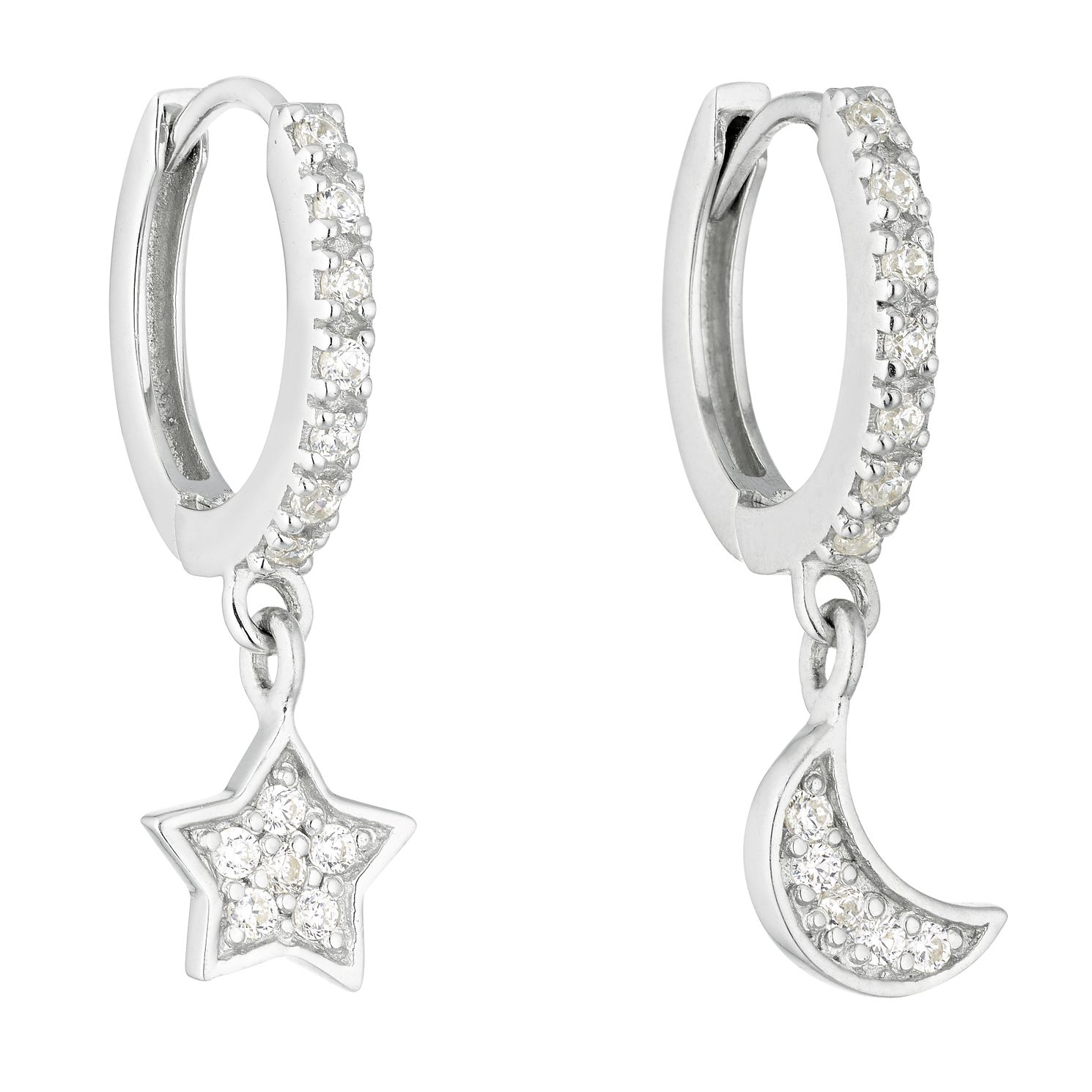 Sterling Silver Cubic Zirconia Star Moon Charm Hoop Earrings - Product number 1058592
