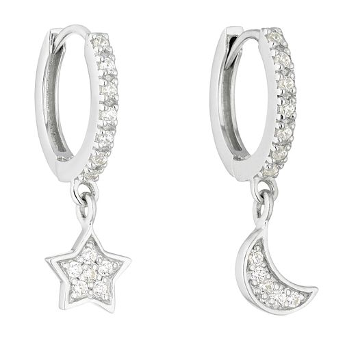 Silver Cubic Zirconia Star & Moon Hoop Earrings - Product number 1058592