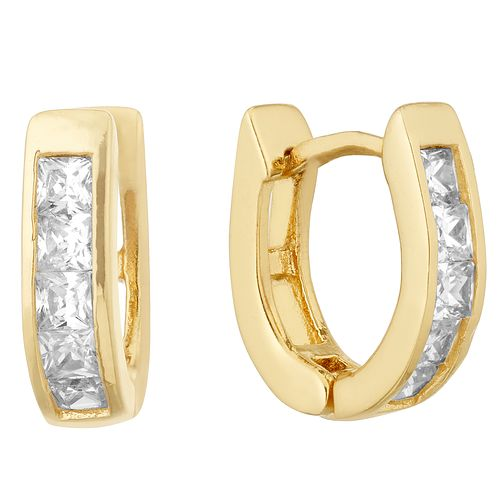 Silver Yellow Gold Plated Princess Cut Crystal Hoop Earrings - Product number 1058770