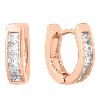 Silver Rose Gold Plated Princess Cut Crystal Hoop Earrings - Product number 1058797