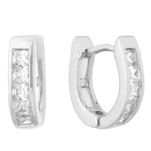 Silver Princess Cut Crystal Hoop Earrings - Product number 1058819