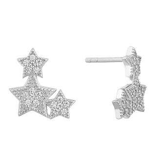 Silver Cubic Zirconia Trio Star Stud Earrings - Product number 1058851