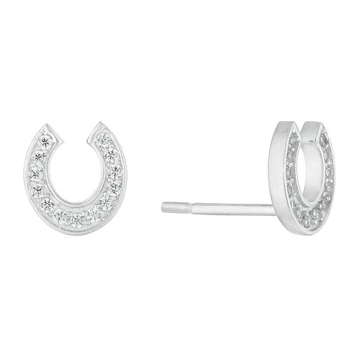 Silver Cubic Zirconia Horseshoe Stud Earrings - Product number 1058878
