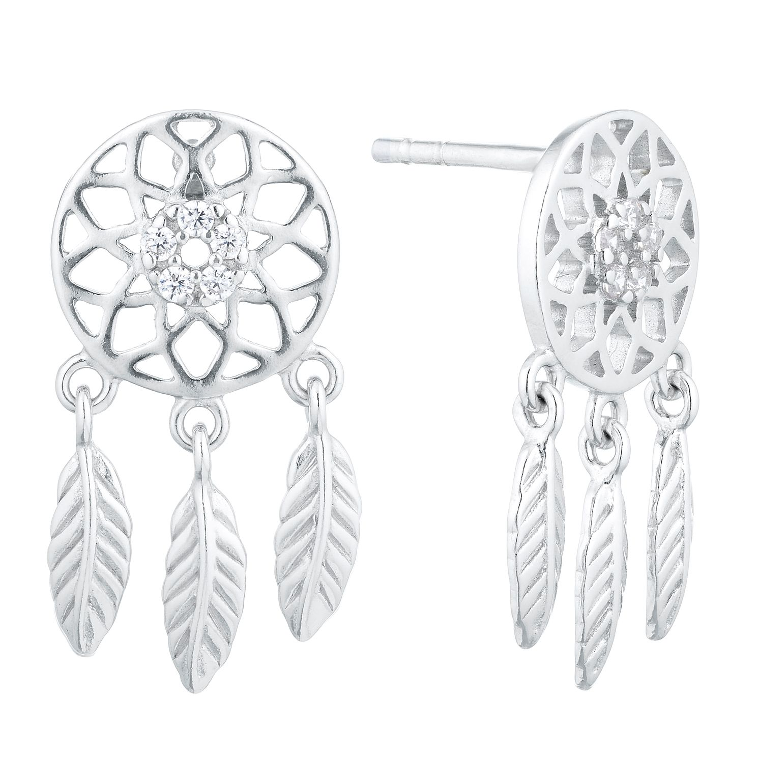 Silver Cubic Zirconia Dreamcatcher Drop Earrings - Product number 1058940
