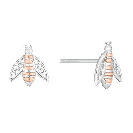 Silver Two-Tone Bee Stud Earrings - Product number 1059033