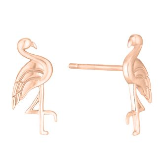 Silver Rose Gold Plated Flamingo Stud Earrings - Product number 1059041
