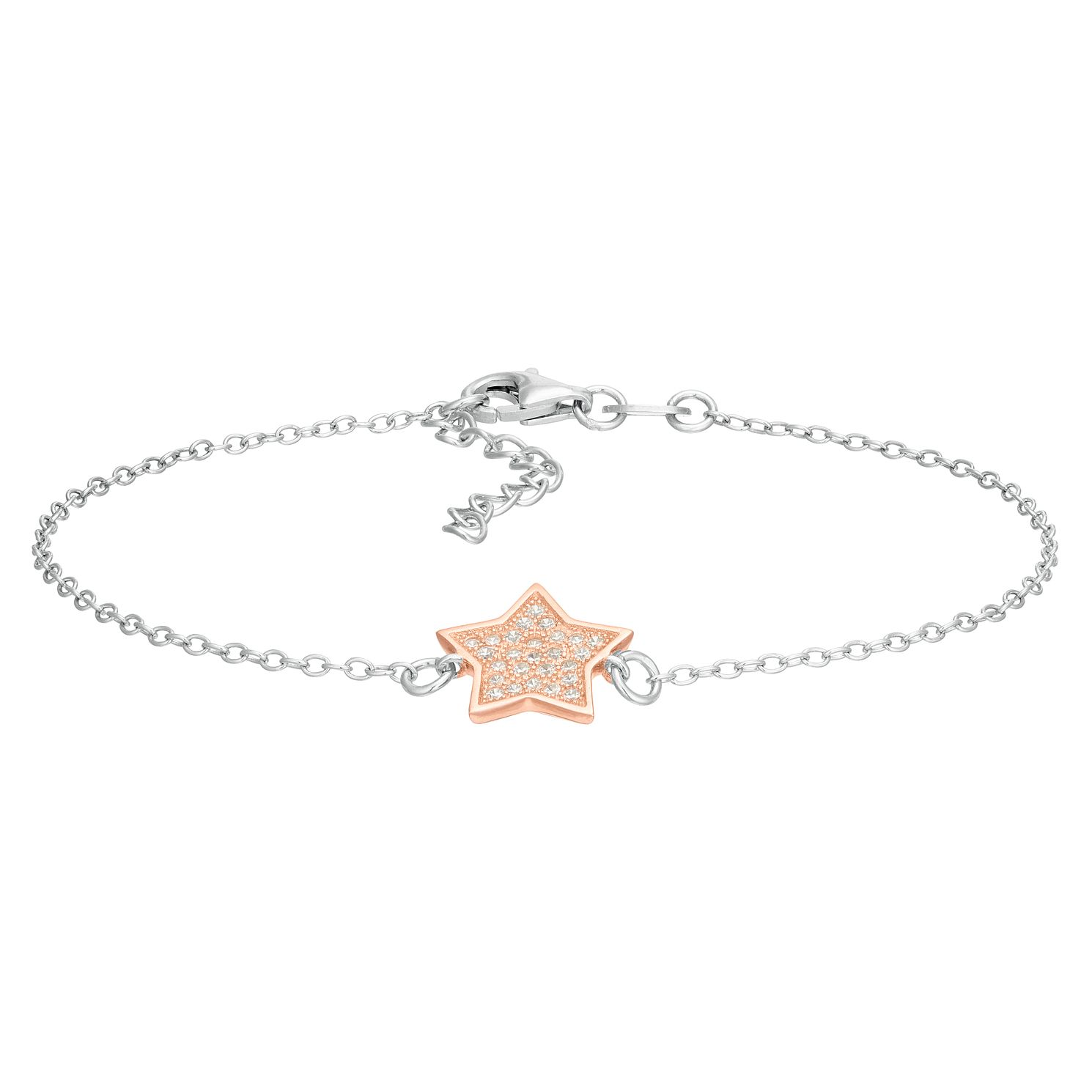 Silver Two-Tone Cubic Zirconia Star Bracelet - Product number 1059173