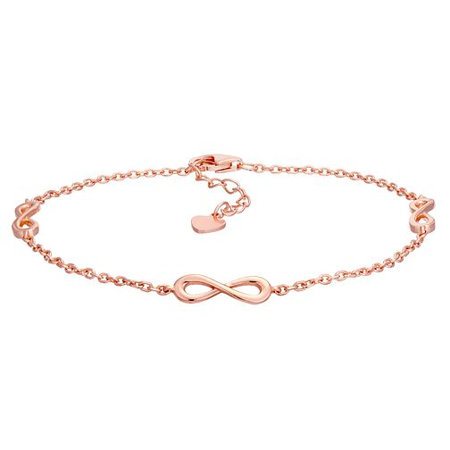 Silver Rose Gold Plated Infinity Symbol Bracelet - Product number 1059211