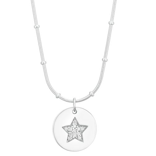 Silver Cubic Zirconia Star Disc Pendant - Product number 1059254