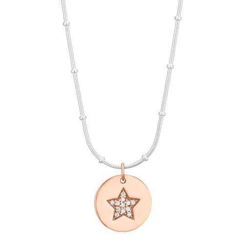 Silver Rose Gold Plated Cubic Zirconia Star Disc Pendant - Product number 1059262
