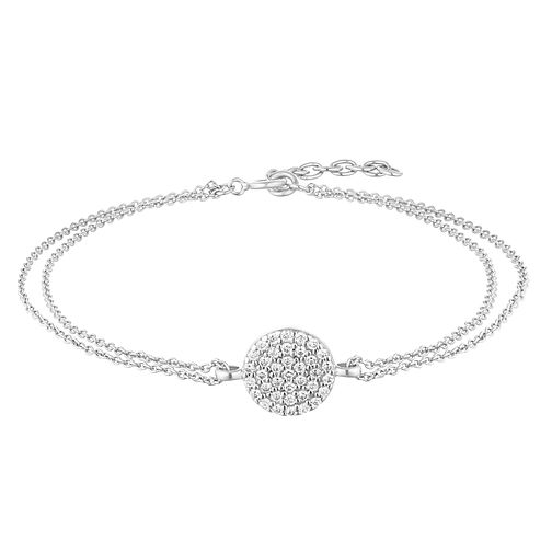 Silver Pave Crystal Round Strand Bracelet - Product number 1059289