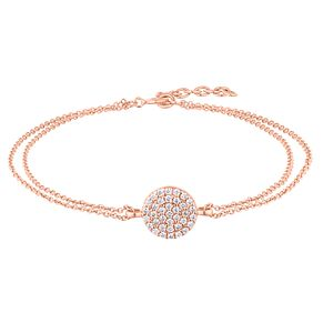 Silver Rose Gold Plated Pave Cubic Zirconia Round Necklace - Product number 1059750