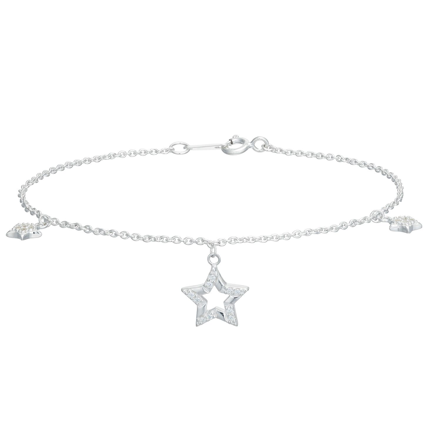Silver Cubic Zirconia Star Charm Bracelet - Product number 1059335