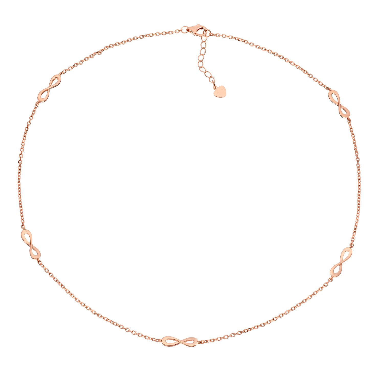 Silver Rose Gold Plated Infinity Symbol Necklace - Product number 1059408